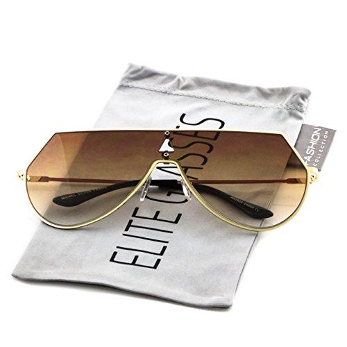 7f62a41b4d Elite Oversize Unisex Flat Top Aviator Retro Shield Mirrored Lens Rimless  Sunglasses - Buy Online in UAE.