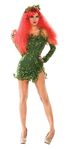 Party King Women's Poisonous Villain Sexy Cosplay Costume Dress Set, Green, -