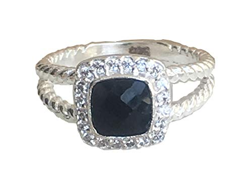 Gempara 7x7mm Petite Albion Ring with Black Onyx and VS1/E Simulated Diamonds (7)