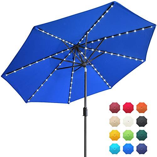 EliteShade Sunbrella Solar Umbrellas 9ft Market Umbrella with 80 LED Lights Patio Umbrellas Outdoor Table Umbrella with Ventilation and 5 Years Non-Fading Top,Blue