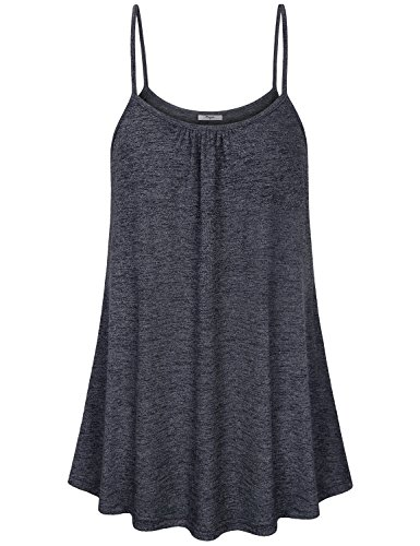 Cestyle Simple Tops for Women,Summer Casual Sleeveless Space Dye Knit Tunic Tank for Teen Girls Black Marble XX-Large