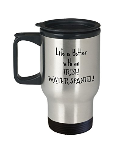 Irish Water Spaniel Puppy Dog Owner - From Son Daughter Brother Father Mom Birthday Christmas Gift - Insulated Stainless Steel 14oz Travel Coffee ()