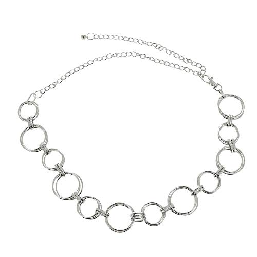 - FASHIONGEN - Woman's Lady Fashion Metal Chain Style Belt, ANNA - Silver, One size