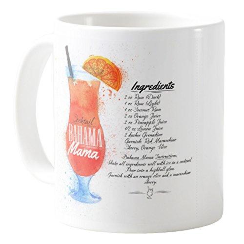 AquaSakura - Bahama Mama Cocktails Ingredients Watercolor - 11oz Ceramic Coffee Mug Tea Cup