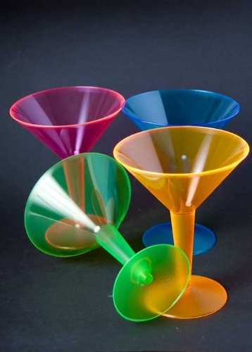 Halloween Party Neon Cocktail Martini Glasses