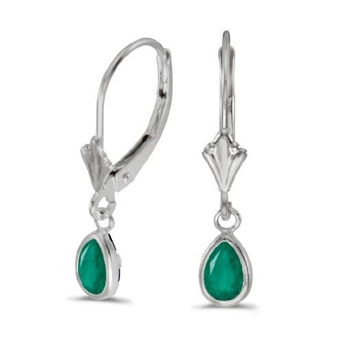 14k White Gold Pear Emerald Bezel Lever-back Earrings ()