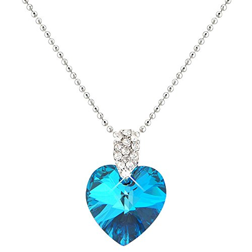 Pretty Ocean Blue Heart Necklace and Earring Set - Swarovski Elements Crystals - Silver Tone - Gift Present for Her