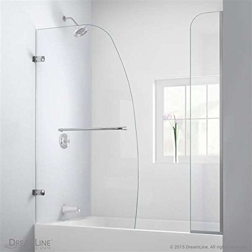 DreamLine Aqua Uno 56 to 60W x 58 H Hinged Tub Door w/ 9 Extender Panel, Brushed Nickel Finish Hardware by DreamLine by DreamLine