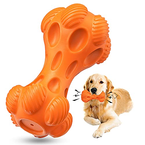 WINSHIDEN Dog Chew Toys for Large Aggressive Chewer,Indestructible Dog Squeaky Toys,Tough Toys with Non-Toxic Natural Rubber for Large and Small Dogs