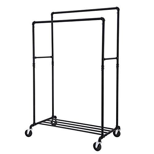 SONGMICS Industrial Pipe Double Rail Clothes Rack on Wheels with Commercial Grade Clothing Hanging Rack Organizer for Garment Storage Display Black - Black Clothes Rail