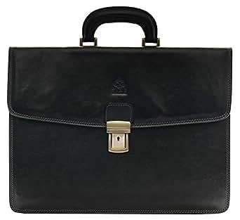 Mioy Modern Mens leather Business Bag Water resistant shoulder Messenger Bag 14 Laptop Bag Tote Briefcase Black