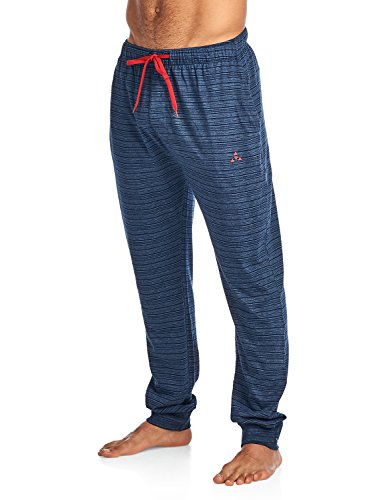 (Balanced Tech Men's Jersey Knit Jogger Lounge Pants - Striation Navy - Medium)