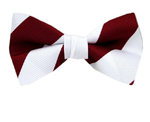 Men's Red and Burgundy Silk Self Tie Bowtie Tie Yourself Bow - Stripe Crimson