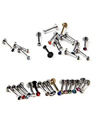 BODYA Lot of 16 Assorted Gems Labret Lip Bar Chin Lip Rings Piercing 1.2mm Surgical Steel 16 Guage Body Jewelry