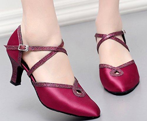 Da Ladies 7134 Ballo Swing Ballroom Toe Heel Kitten Party cha Tango Purple Satin Latino Closed Cha Sudue Suola Wedding Scarpe Cfp 50dw8q5