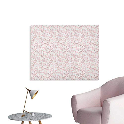 - Anzhutwelve Cherry Blossom Wallpaper Retro Revival Sakura Pattern in Soft Color Chinese Japanese Culture Art Wall Poster Coral White W48 xL32