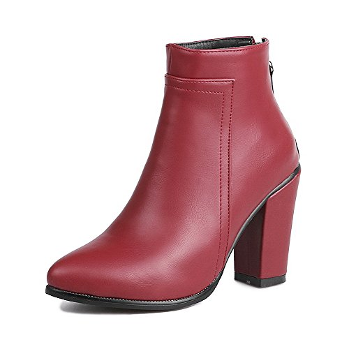 AllhqFashion Women's Low-Top Solid Zipper Boots Pointed Closed Toe High-Heels Boots Zipper B01NCDU0EA Shoes 890955