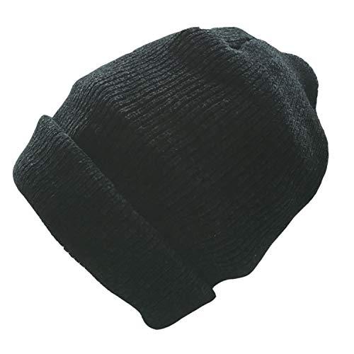 Cuffed Watch Cap - Art Focus Wool Cuffed Plain Beanie Warm Winter Knit Hats Unisex Watch Cap Skull Cap (Black)
