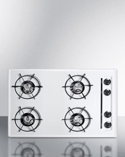 "30"" wide gas cooktop in white, with four burners and battery"