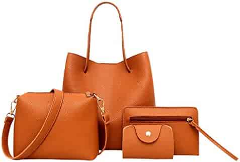 1d0c756aff1 4Pcs Women Pattern Leather Handbag+Crossbody Bag+Messenger Bag+Card