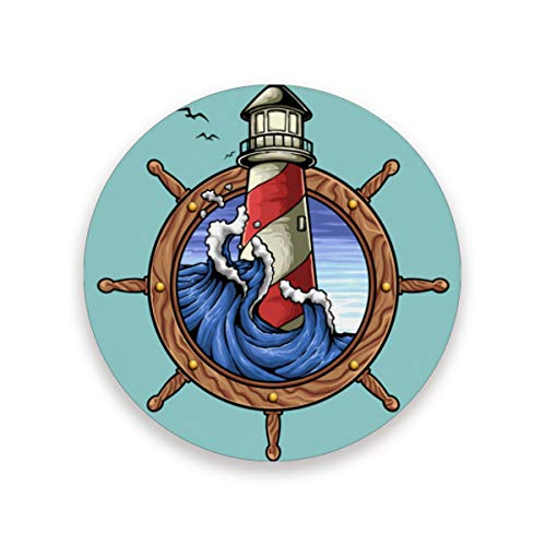 LUPINZ Lighthouse And Nautical Signs Cup Mat Insulated Flexible Durable Non Slip Coasters Moisture Absorbing Coasters with Cork Base