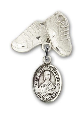 ReligiousObsession's Sterling Silver Baby Badge with St. Gemma Galgani Charm and Baby Boots Pin