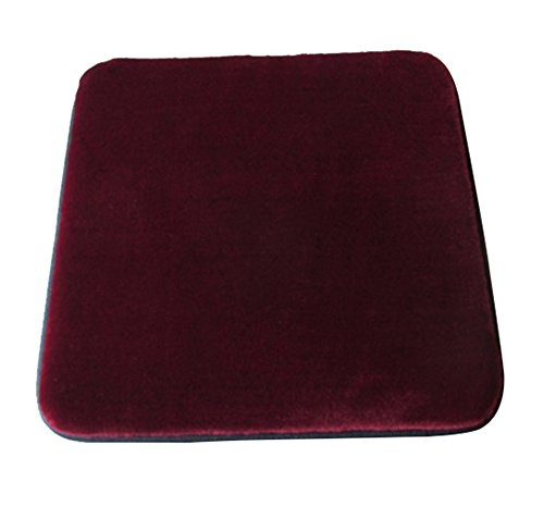 Sigmat Plush Square Seat Cushion for Bar Stool or Chair Pad with Buckle Burgundy 12