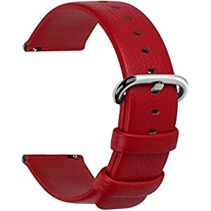 Quick Release Leather Watch Band, Fullmosa Uli Genuine Leather Replacement Watch Strap with Stainless Metal Clasp 18mm 20mm 22mm