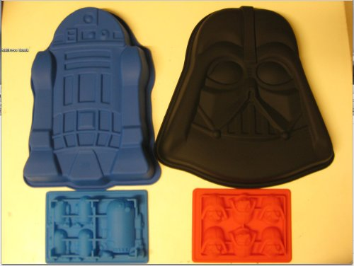 Star Wars R2-d2 Darth Vader Silicone Birthday Cake Pan Mold Ice Tray Set of 4 -