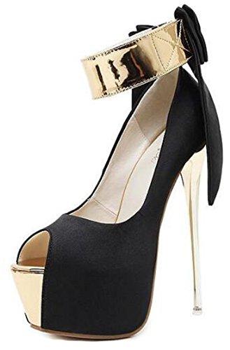 Easemax Womens Elegant Bows Strap Hook And Loop Contrasting Color Peep Toe Platform High Stiletto Heel Sandals Black f5vljh