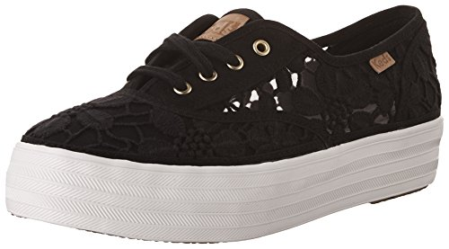 TRIPLE Women's VINTAGE Keds Black CROCHET Sneakers qOUc5