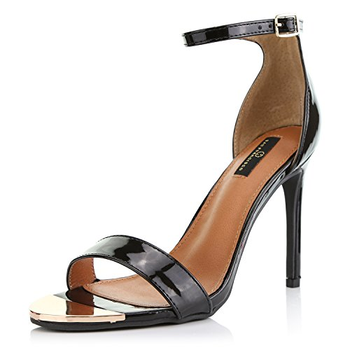 DailyShoes Women's Stilettos Sandal Open Toe Ankle Buckle Strap Platform Evening Party Dress Casual Shoes, Black Patent Leather, 11 B(M) US