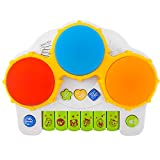 Baby Piano Music Keyboard Hand Drum, Zooawa Musical Instrument Educational Learning Toy with Flashing LED Lights for Toddlers & Kids - Colorful