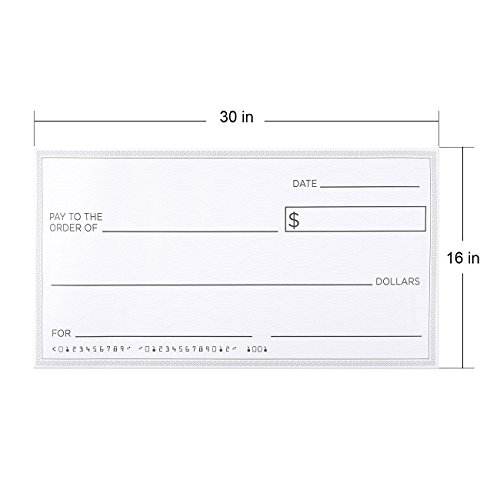 Blue Panda Giant Checks - 5-Count Paper Giant Fake Novelty Checks, Large Presentation Checks for Endowment Award, Donations, and Fundraisers, Each Big Check Measures 30 x 16 Inches by Blue Panda (Image #2)