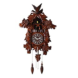 Deluxe 17-inch Birds and Rabbits Cuckoo Clock, with Turning Dancers, Quartz Timepieces - C00158