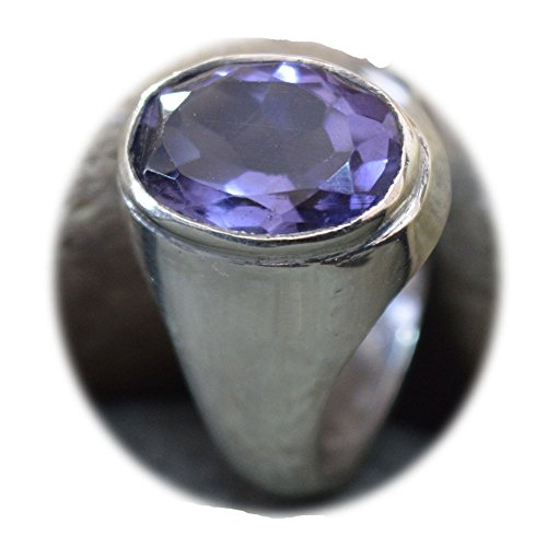 55Carat Natural Amethyst Silver Ring For Men 6 Carat Birthstone Astrological Size 5,6,7,8,9,10,11,12,13