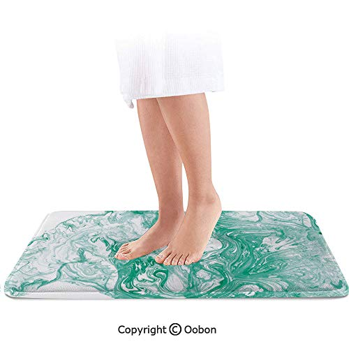 - Marble Bath Mat,Trippy Fluid Mixed Color Motif with Watercolor Paintbrush Featured Art Print,Plush Bathroom Decor Mat with Non Slip Backing,36 X 24 Inches,Jade Green White