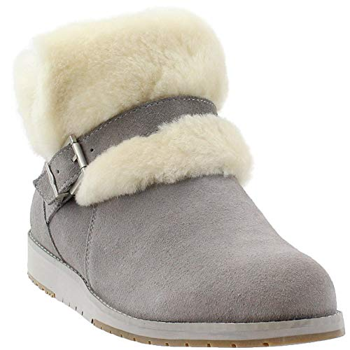 EMU Australia Womens Oxley Fur Cuff Casual Boots, Grey, 8 (Emu Bronte High Boots)