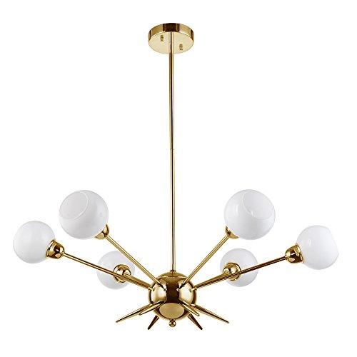 Cerdeco 6 Lights Sputnik Chandelier c-UL us Listed Brushed Brass Modern Pendant Light