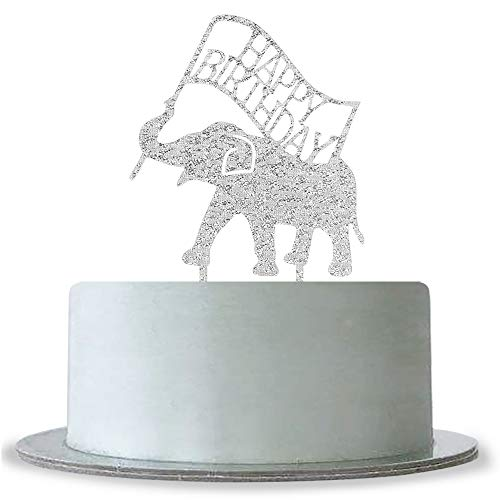 (WeBenison Silver Happy Birthday Cake Topper, Animal Elephant Theme Birthday Party Decorations Supplies, Baby Shower Sign, 1st Birthday Cake)