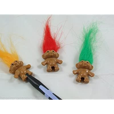 3pc Set Classic Vintage Novelty Mini Troll Doll Pencil Topper Party Bag Toy Fill by zeenca