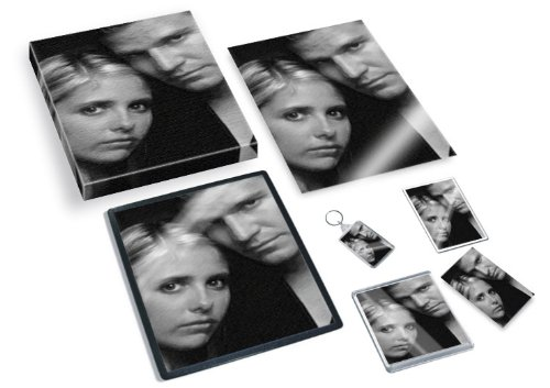 Sarah Michelle Gellar & David BOREANAZ - Original Art Gift Set #js001 (Includes - A4 Canvas - A4 Print - Coaster - Fridge Magnet - Keyring - Mouse Mat - Sketch Card)