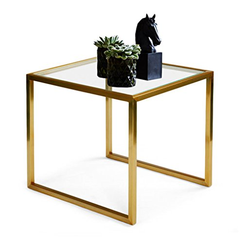 Chi Cheng Fang Electronic business Wrought iron glass tea table creative sofa edge a few small coffee table living room bedroom square table racks ornaments (Color : Gold 504545cm) (Iron Square Tables Nesting)
