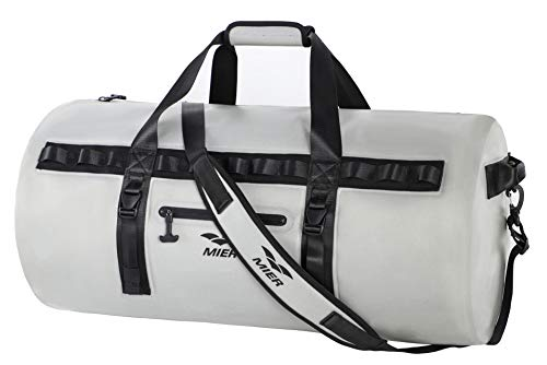 MIER Waterproof Dry Duffel Bag Airtight TPU Dry Bag for Motorcycle, Kayaking, Rafting, Skiing, Travel, Hiking, Camping, 90L, Grey