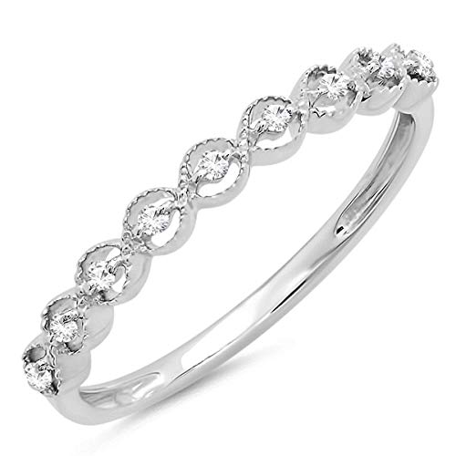 (Dazzlingrock Collection 0.10 Carat (ctw) Sterling Silver Round White Diamond Ladies Wedding Band 1/10 CT, Size 7)