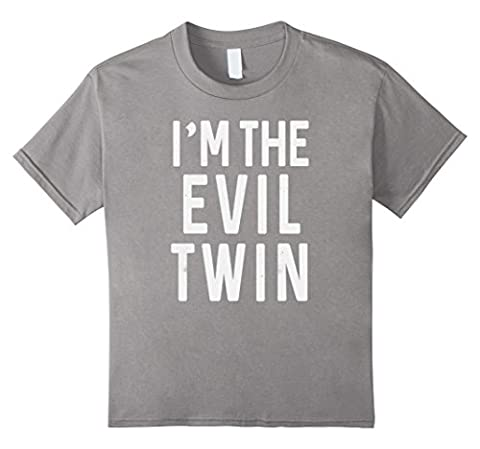 unisex-child I'm the evil twin, funny t-shirt quote, gift idea 12 Slate (Evil Twin)