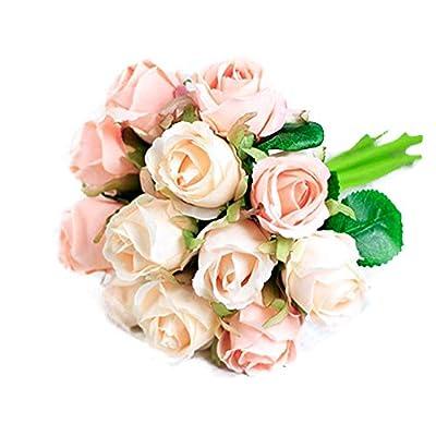 Keklle Artificial Flower, Fake Floral Rose Silk Flower 12 heads Hand Tied Bouquet Home Hotel Office Wedding Party Garden Craft Art Decor 10 Inch High