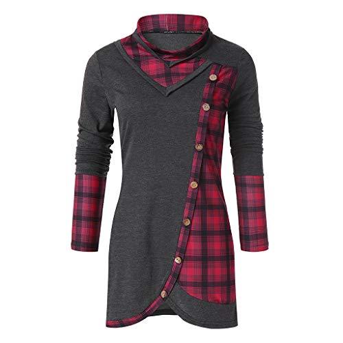 Chic Slim A Top Tartan Cappuccio Con T Felpe Da Donna Camicetta Rosso Plaid Shirt Lunghe Felpa Donna Maniche Fit Contrasto Itisme qp6n4z