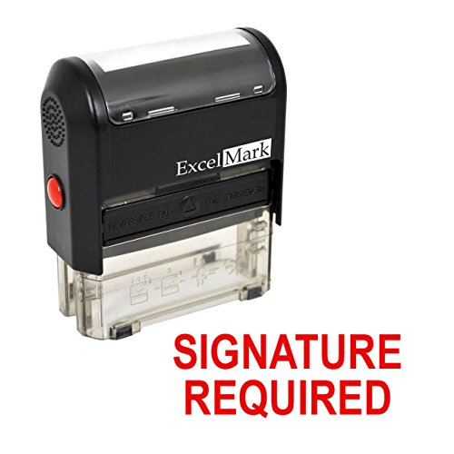 SIGNATURE REQUIRED Self Inking Rubber Stamp - Red Ink