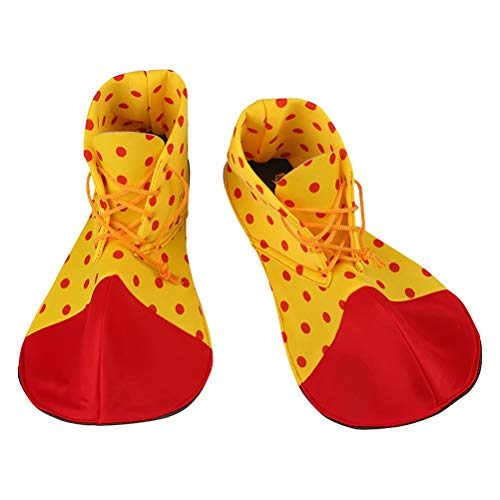 BESTOYARD A Pair of Average Size Clown Shoes Dot Halloween Costume Clown Shoes for Women Men (Random Color) -